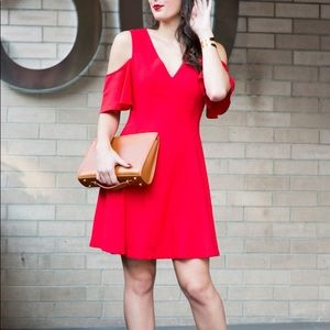 Club Monaco Fit and Flare Red Dress